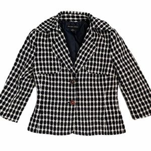 New York & Co Gingham Black & White Stripe Blazer